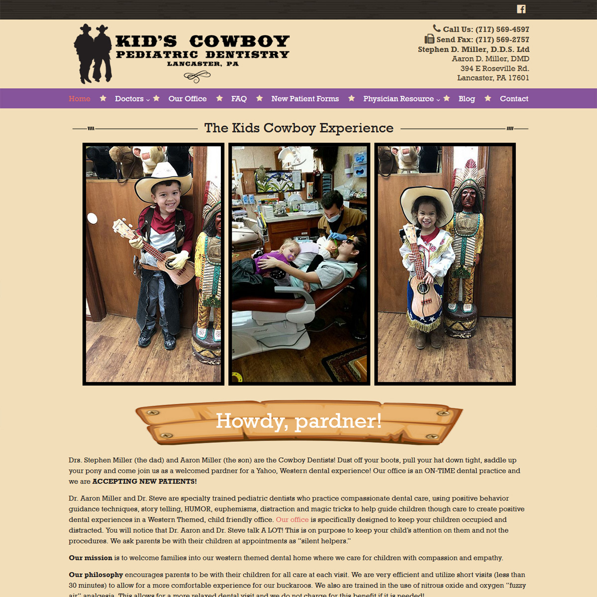 Kids Cowboy Dentistry - dentist website design