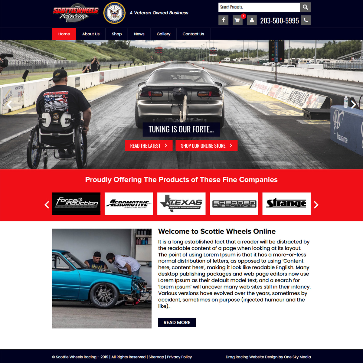 Scottie Wheels drag raging retailer website design