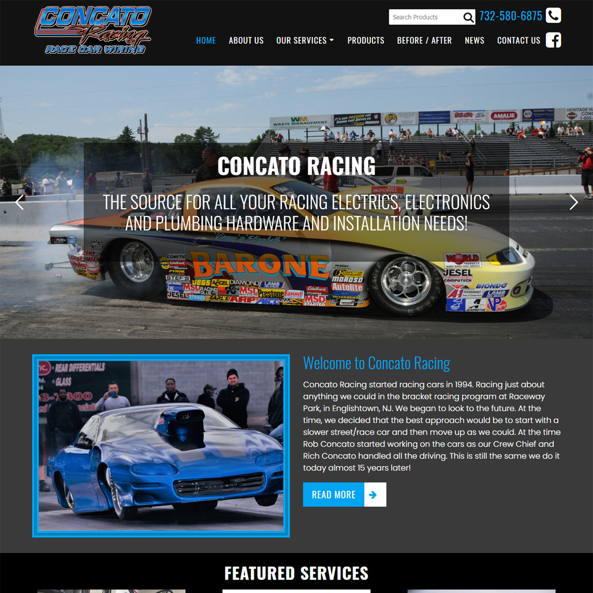 Concato Racing race care wiring and plumbing website design