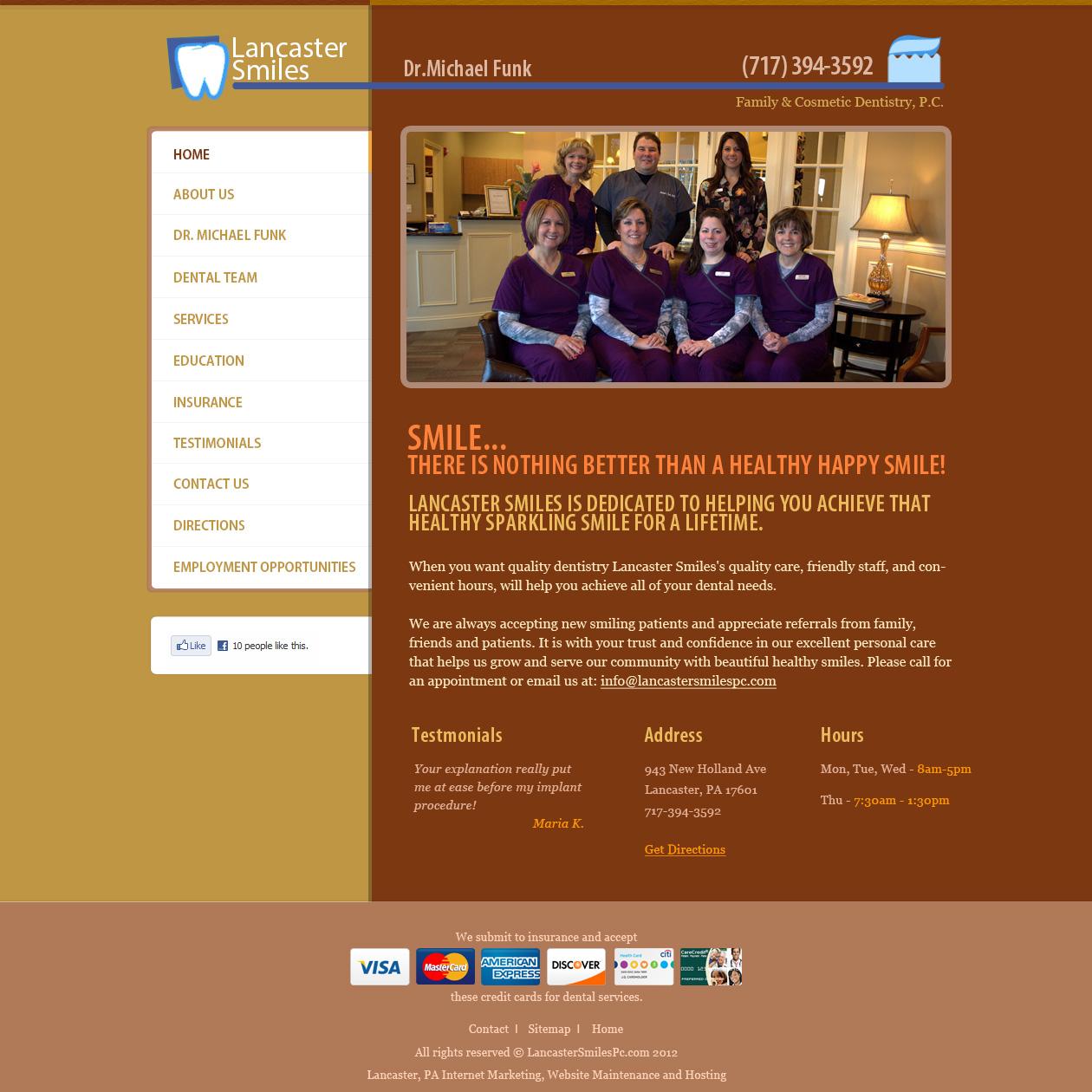 Lancaster Smiles Dental Practice - dentists website design