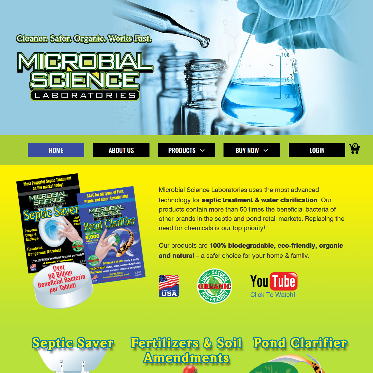 Microbial Science Laboratories septic treatment website design