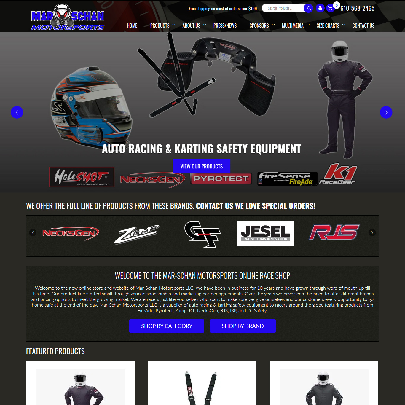 Mar-Schan Motorsports racing safety equipment retailer website design