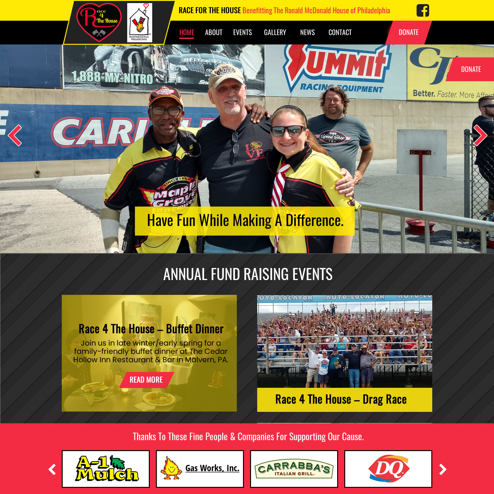 Race 4 The House Ronald McDonald House charity website design