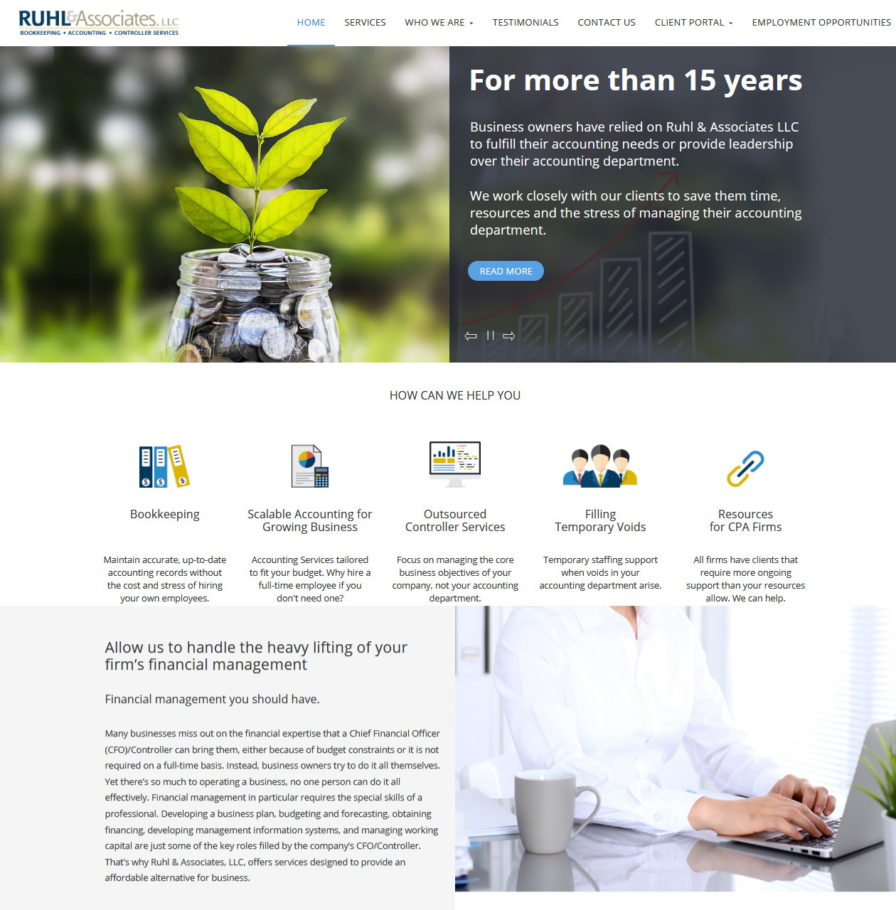 RUHL & Associates Accountants website design