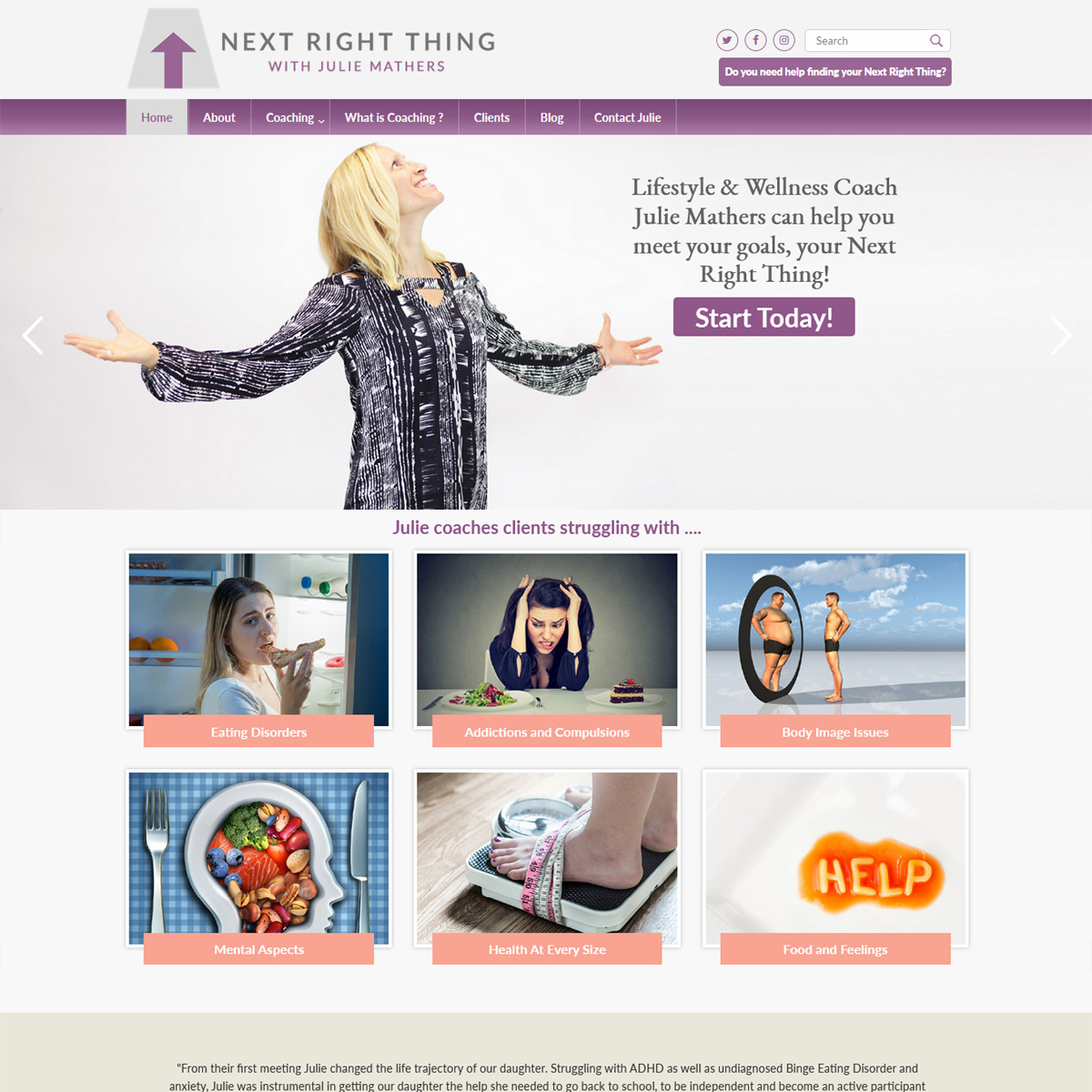 The Next Right Thing counseling website design