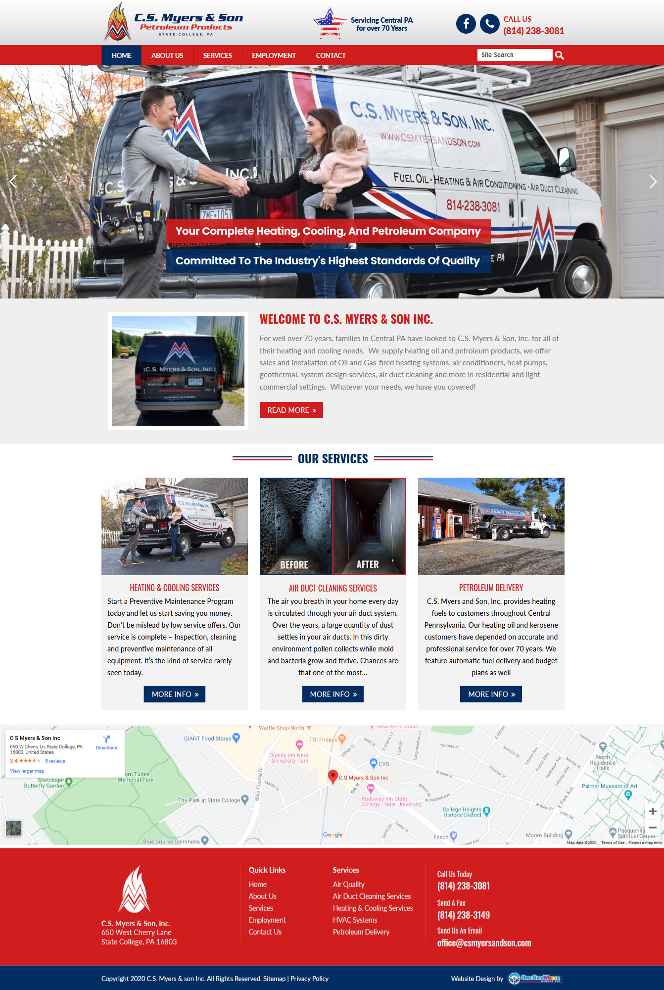 C S Myers & Sons - oil company website design