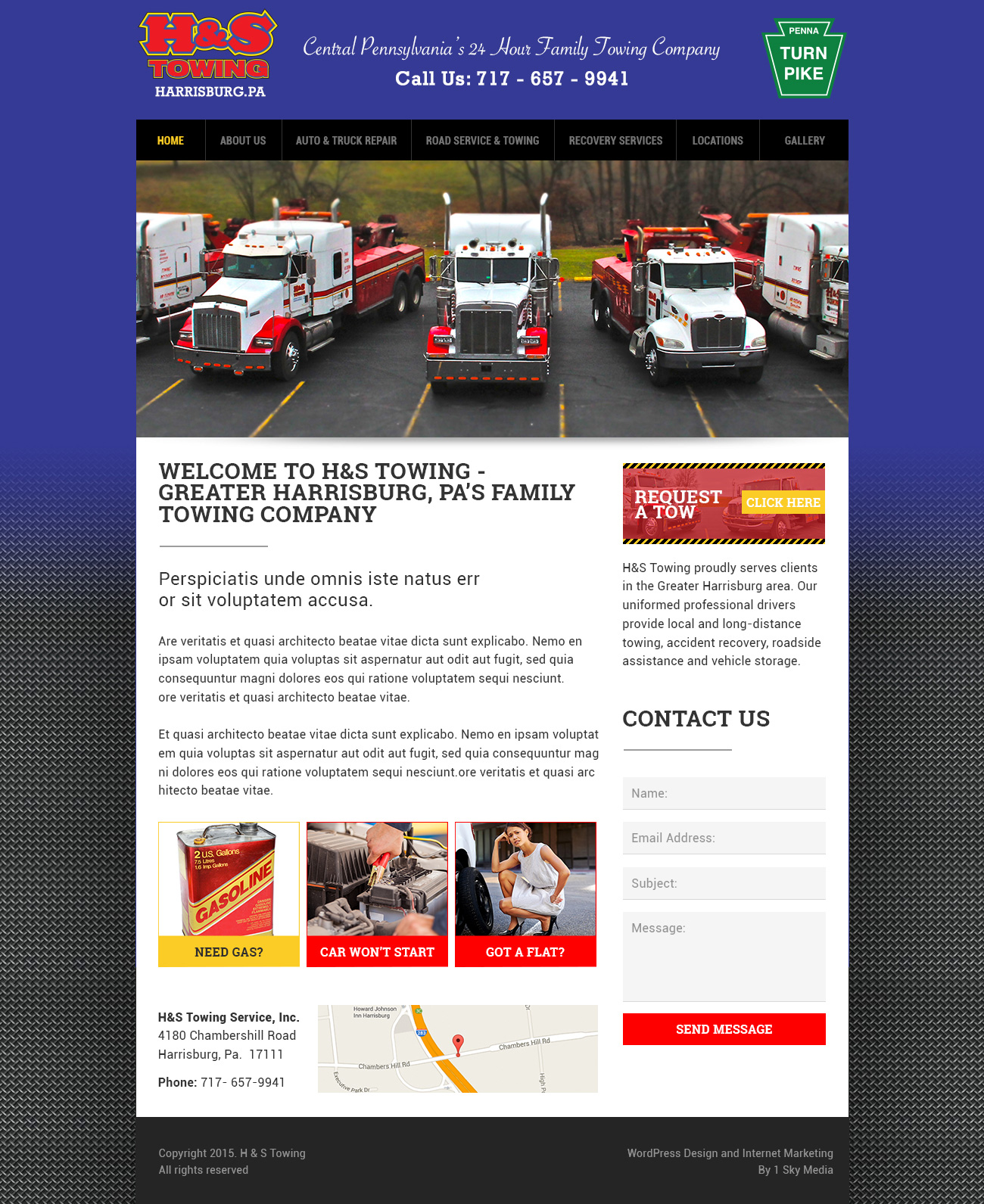 H & S Towing - towing company website design