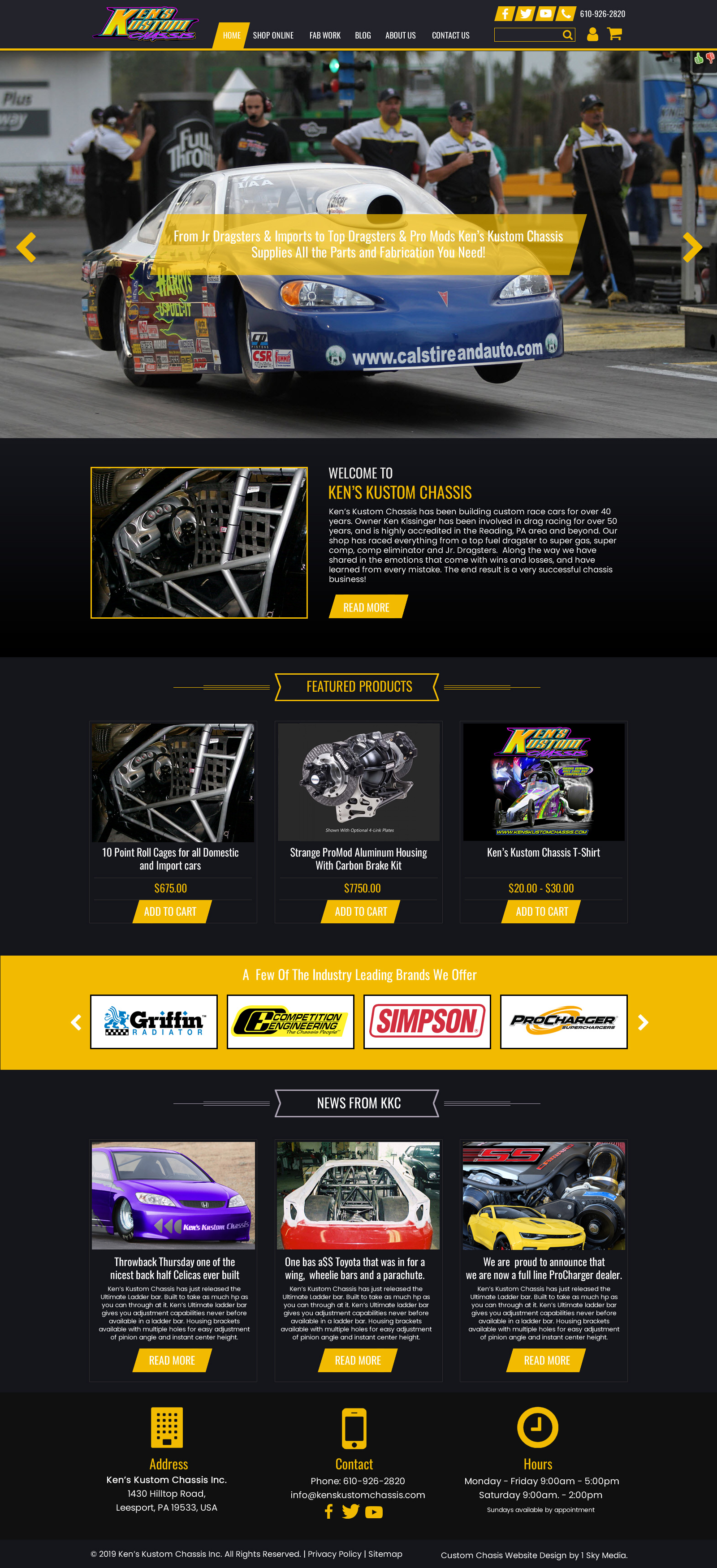 Ken's Kustom Chassis drag racing chassis builder website design