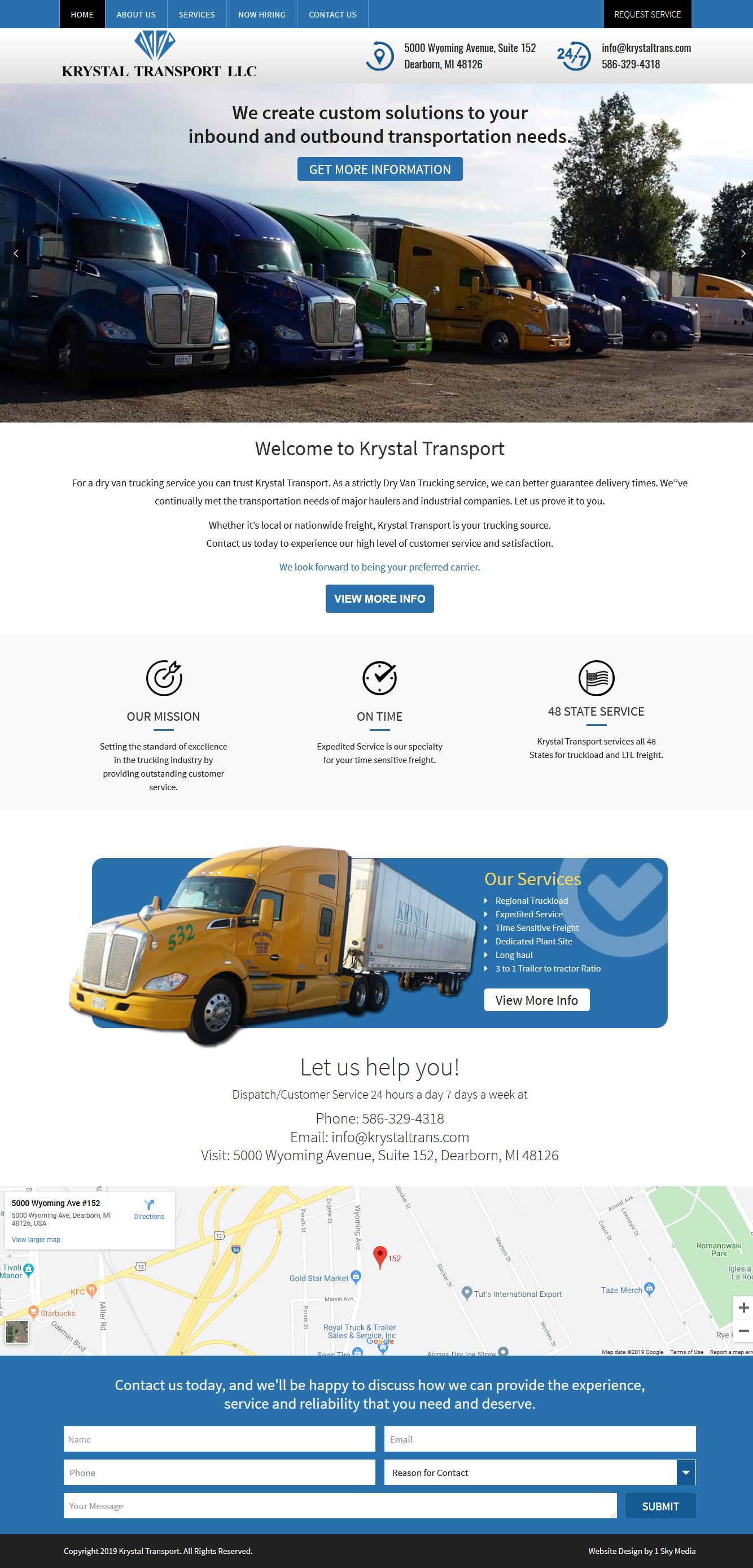 Krystal Transport trucking website design