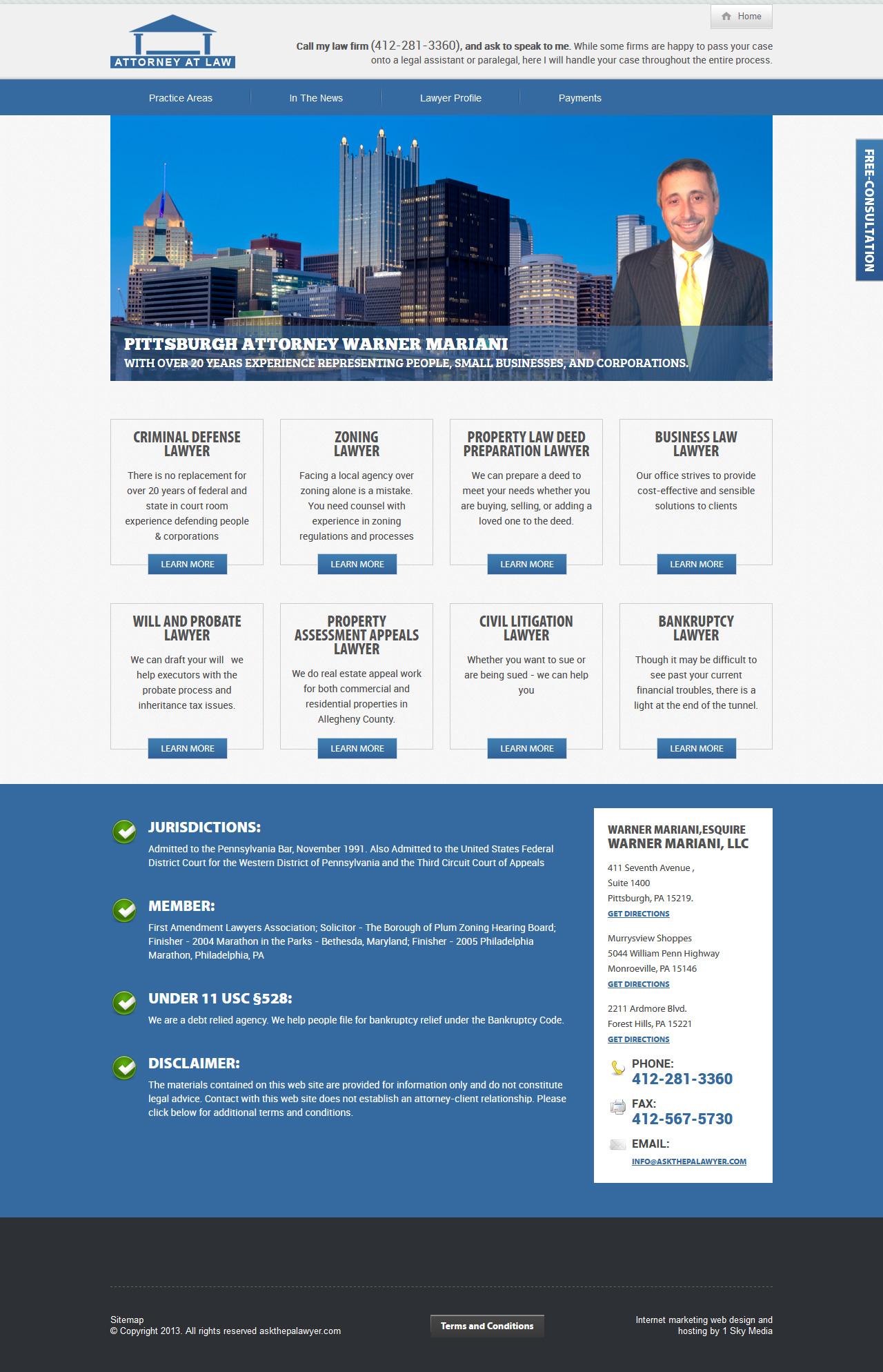 AskThePALawyer.com attorney website design