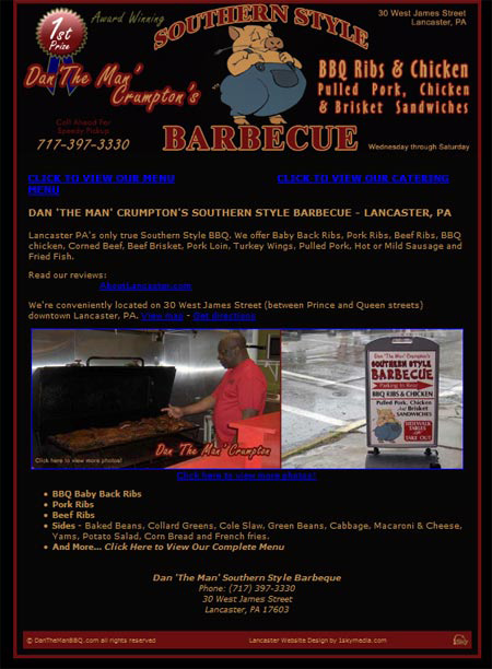 Southern Style Barbeque - restaurant website deign