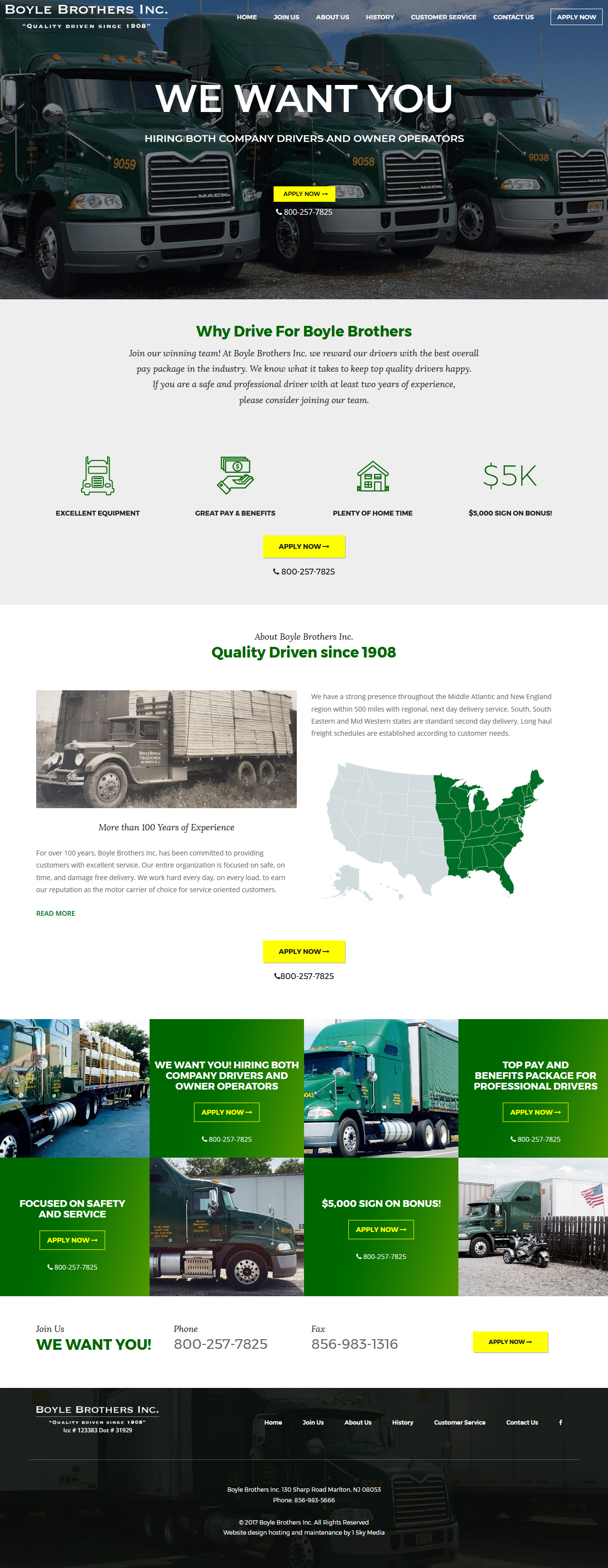 Boyle Brothers Inc trucking website design
