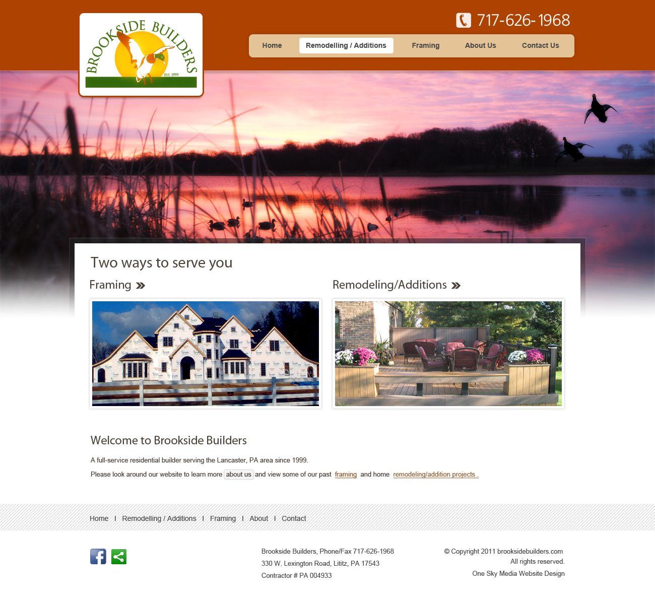Brookside Home builders - home builders website design