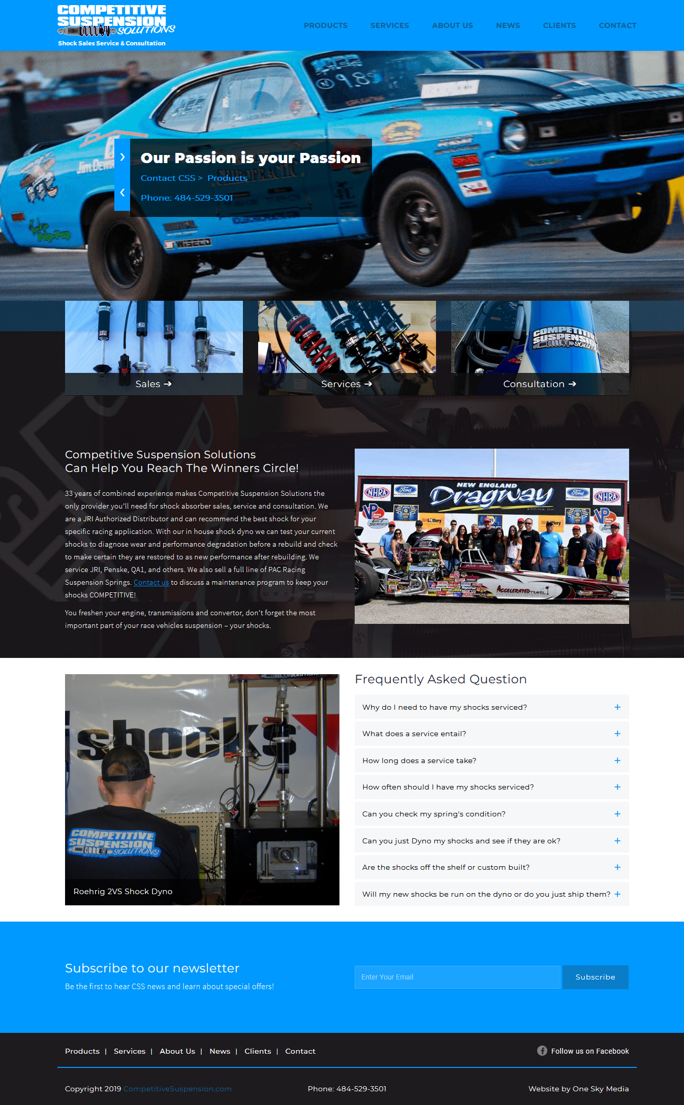Competitive Suspension Solutions drag racing shock absorber website design