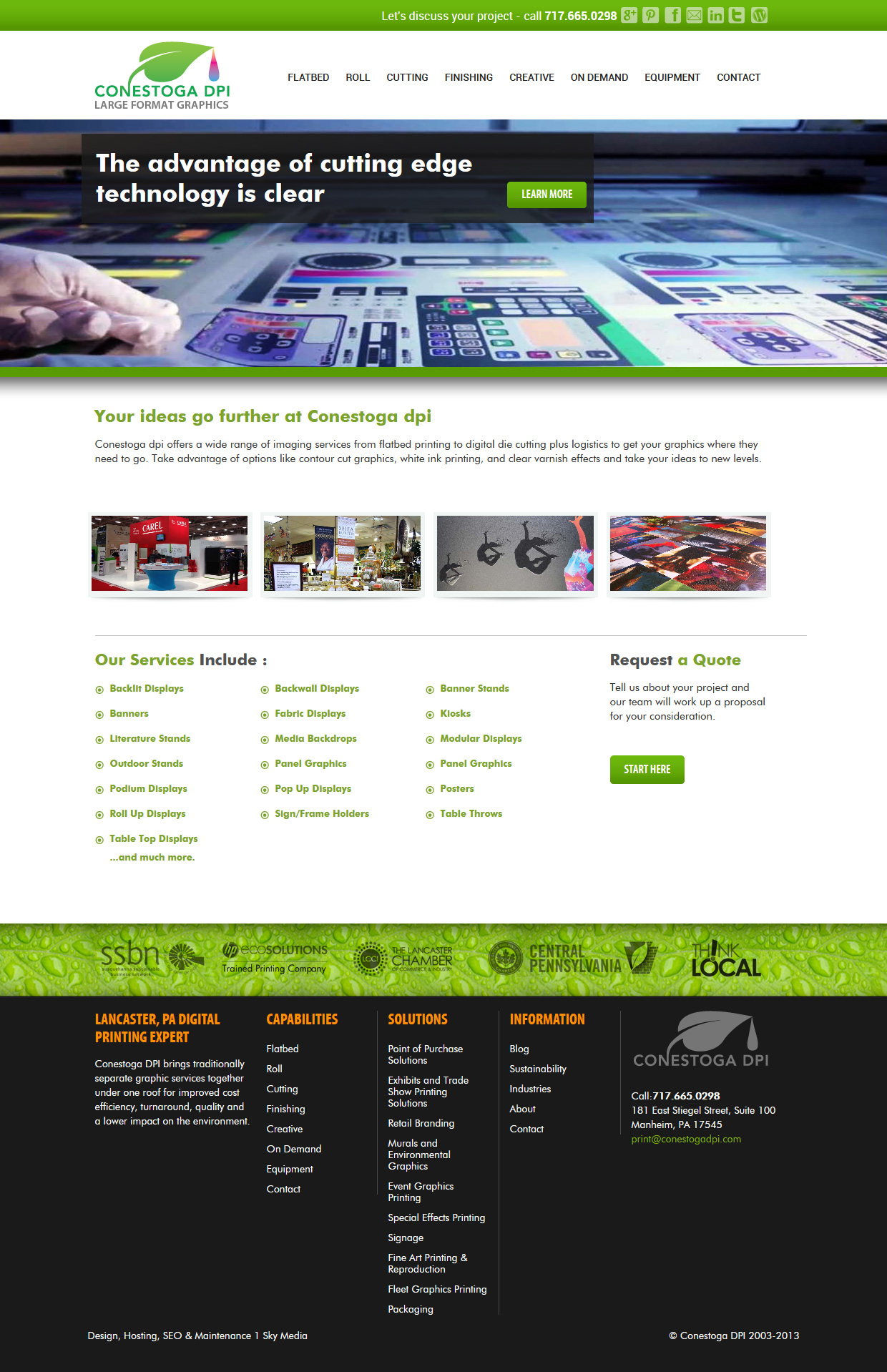 Conestoga DPI large format printer website design