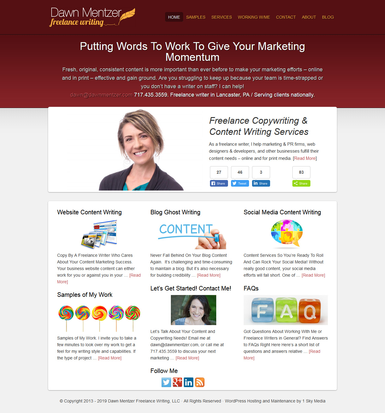 Dawn Mentzer Freelance Writing - copywriter website design