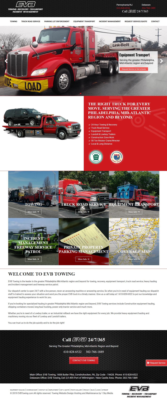 EVB Towing -towing company website design