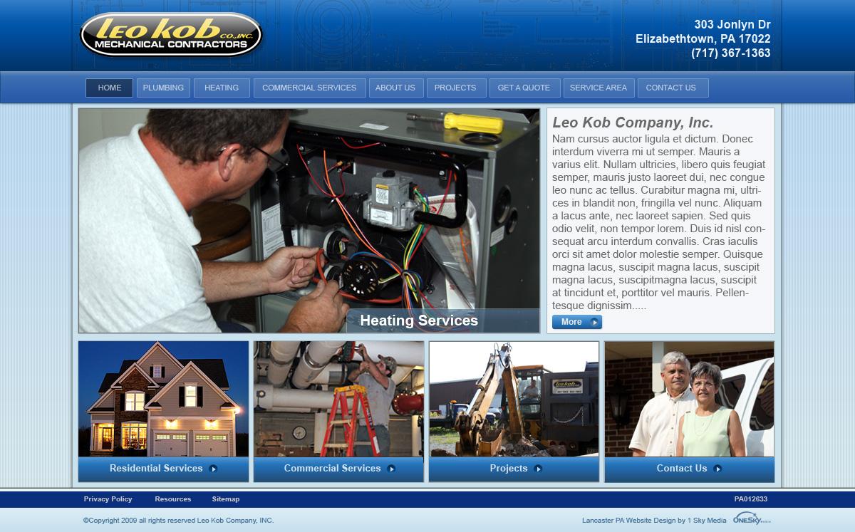 Leo Kob Mechanical Contractors - mechanical contractors website design