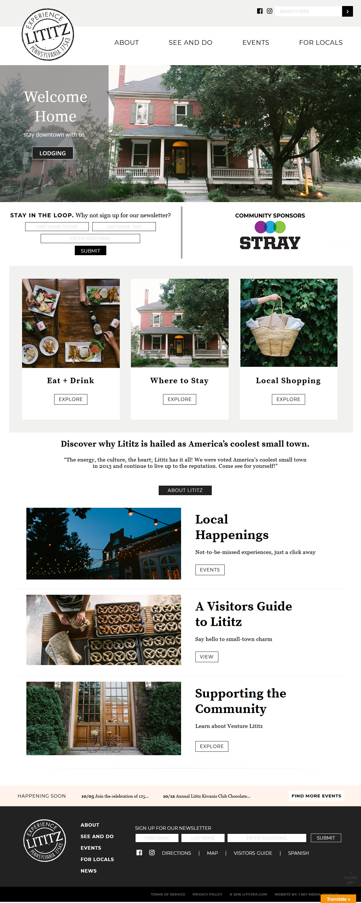 Lititz PA Community Website design