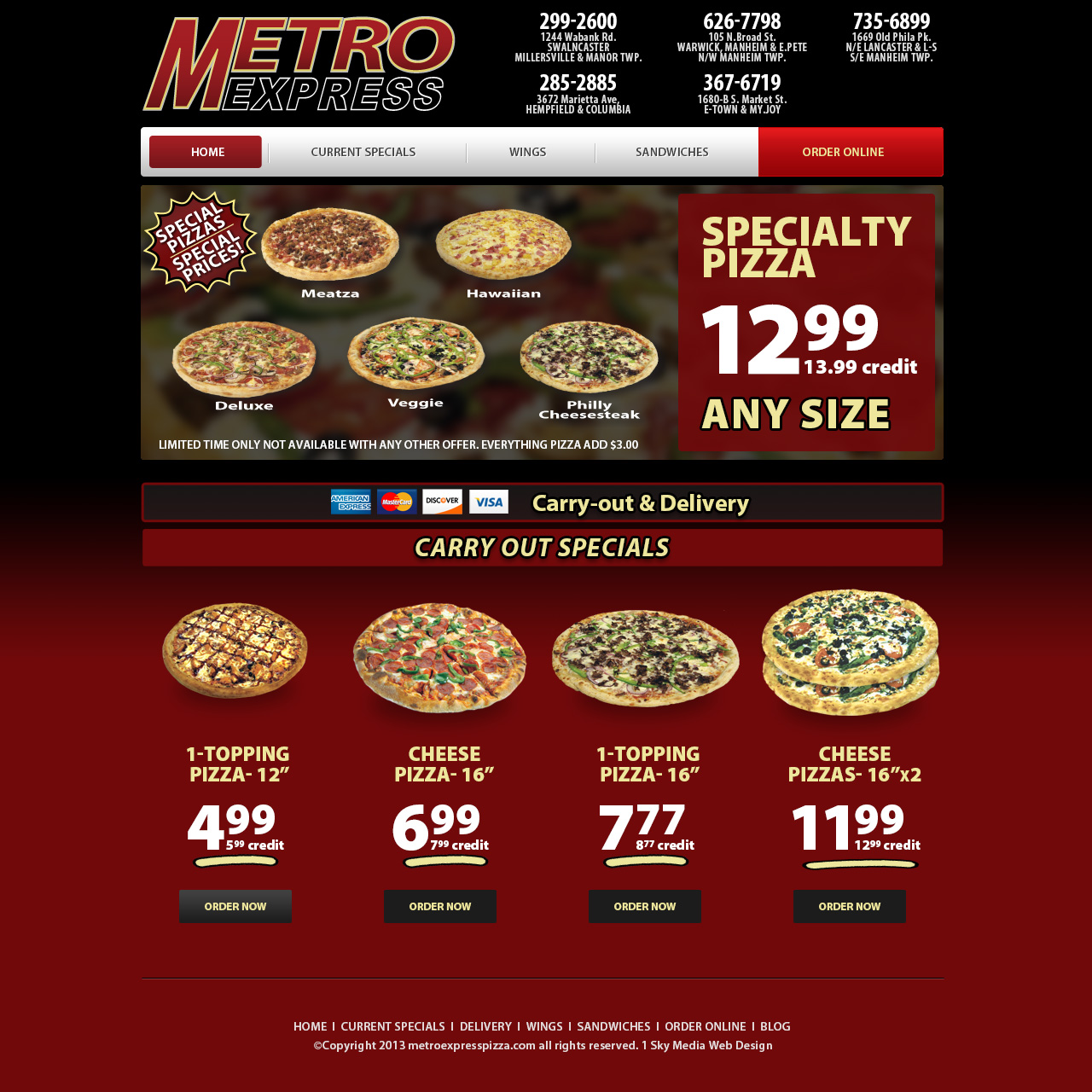 Metro Express Pizza Delivery - pizza delivery company website design