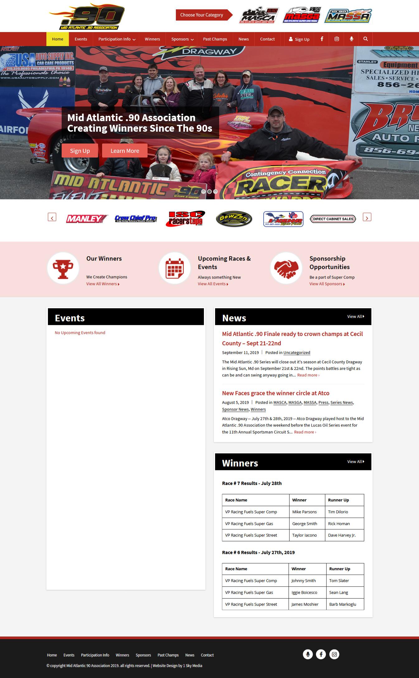 Mid Atlantic .90 drag racing association website design