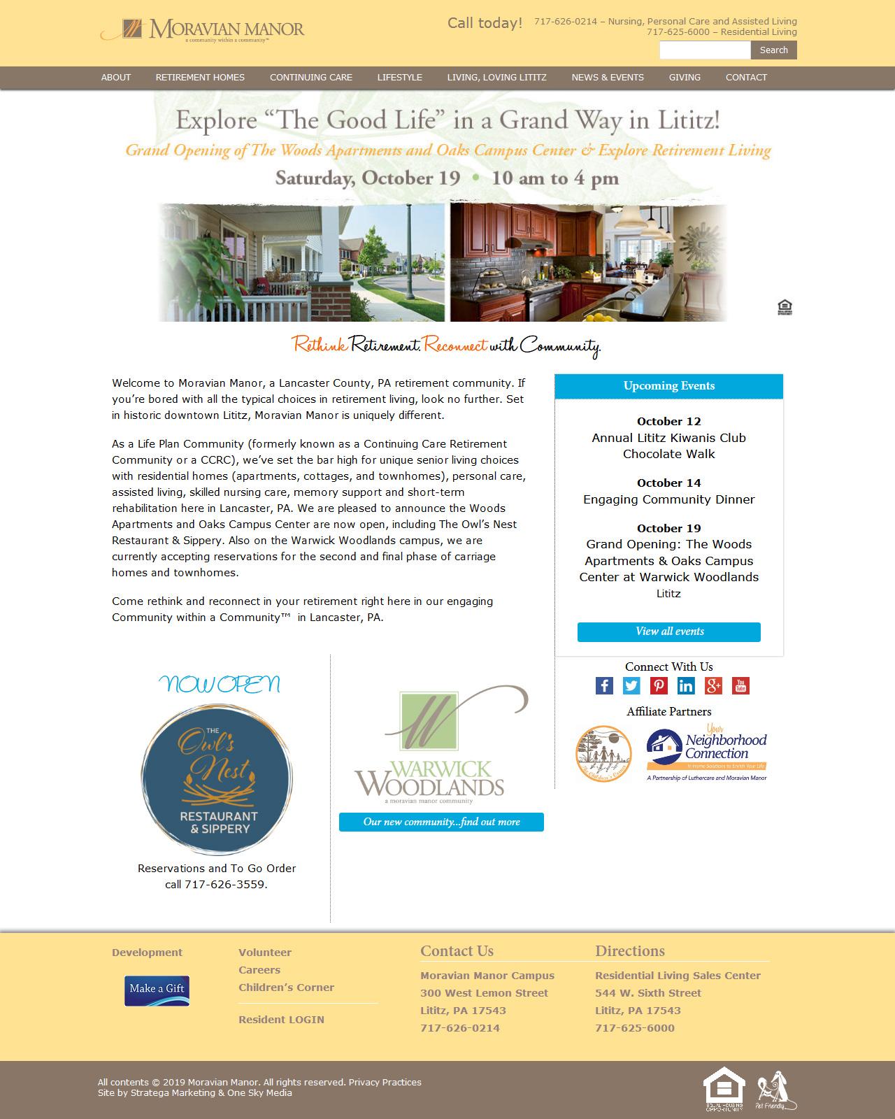 Moravian Manor Nursing Home website design