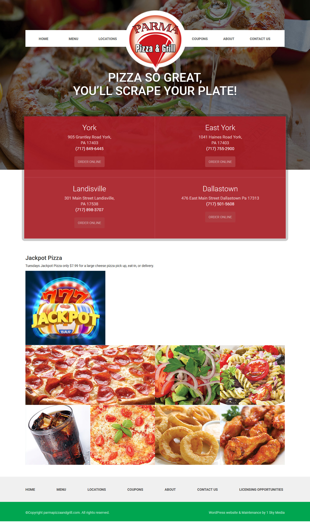 Parma Pizza & Grill pizzeria website design