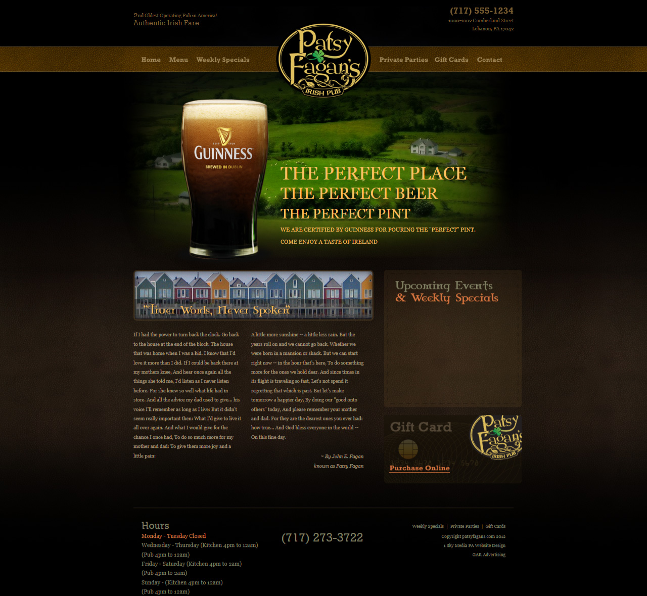 Patsy Fagan Irish Pub website design