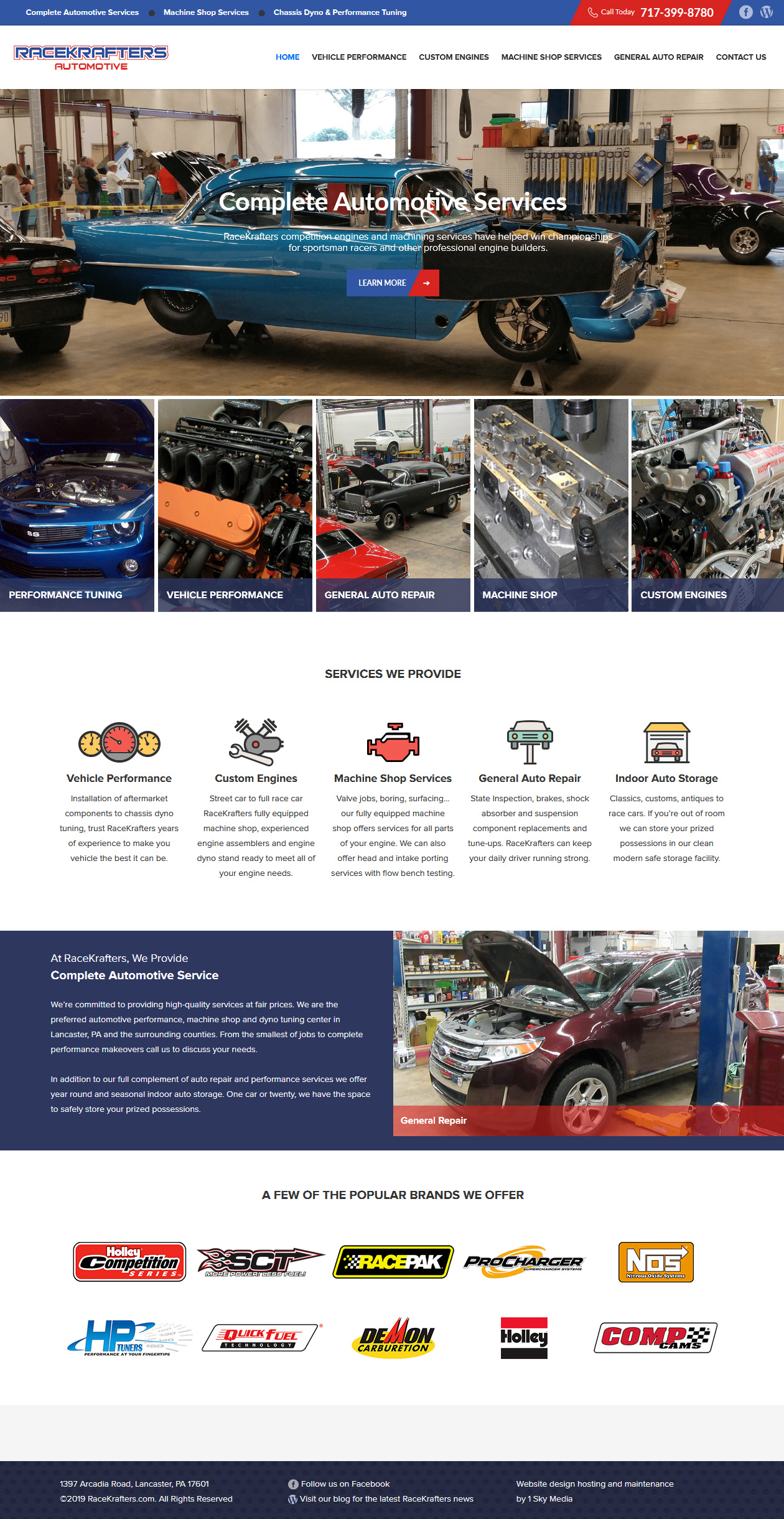 Race Krafters Automotive machine shop website design