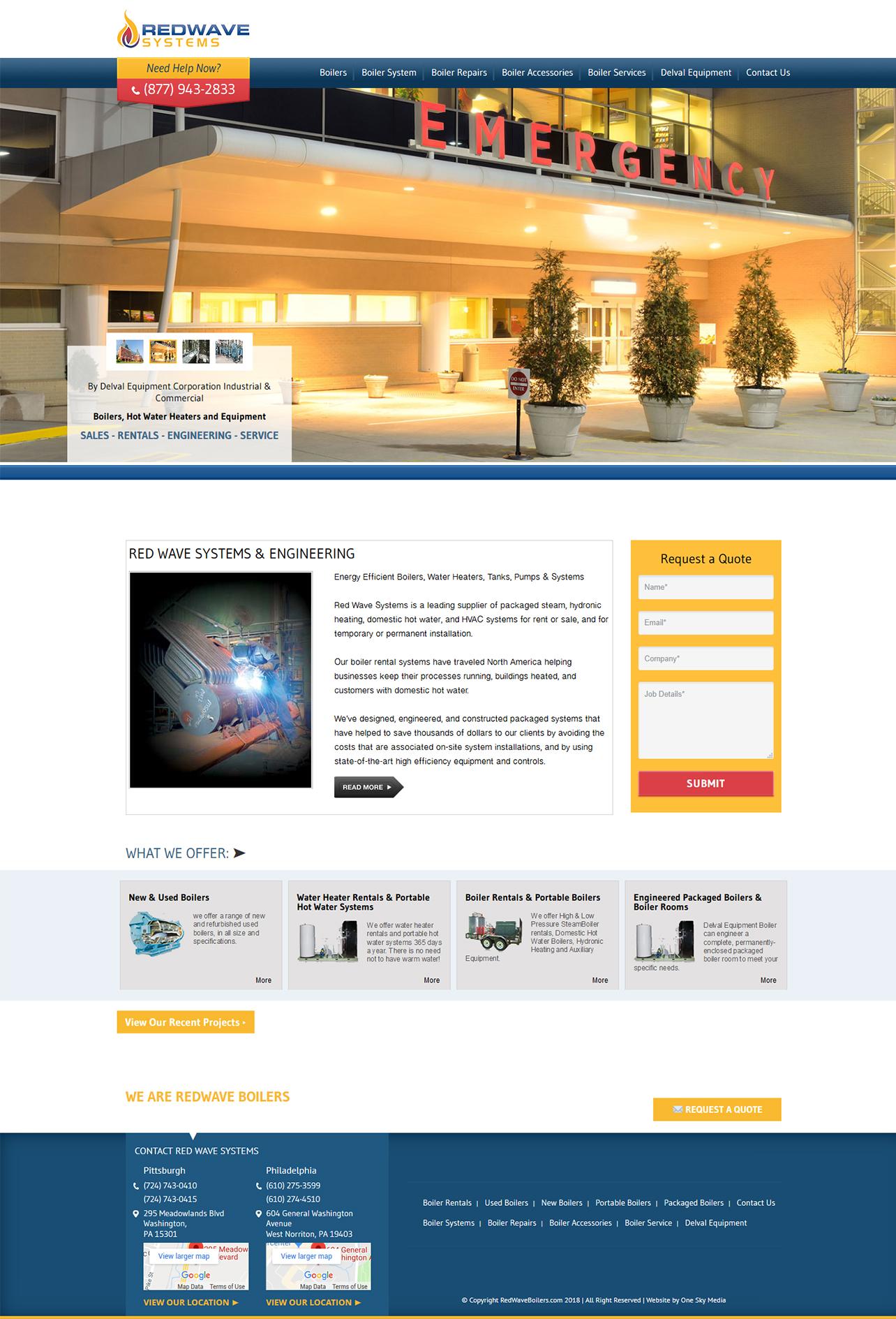 Redwave Systems Boiler Sales & Services website design
