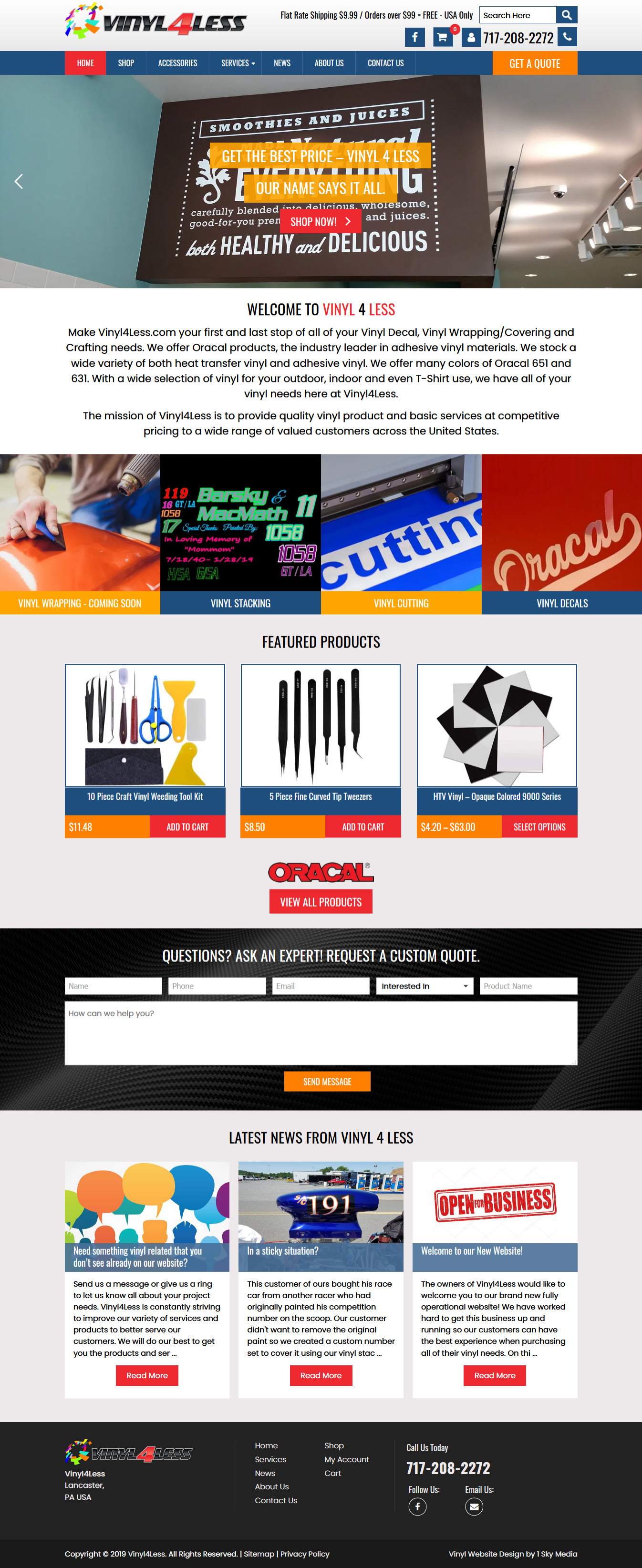 Vinyl 4 less craft vinyl website design