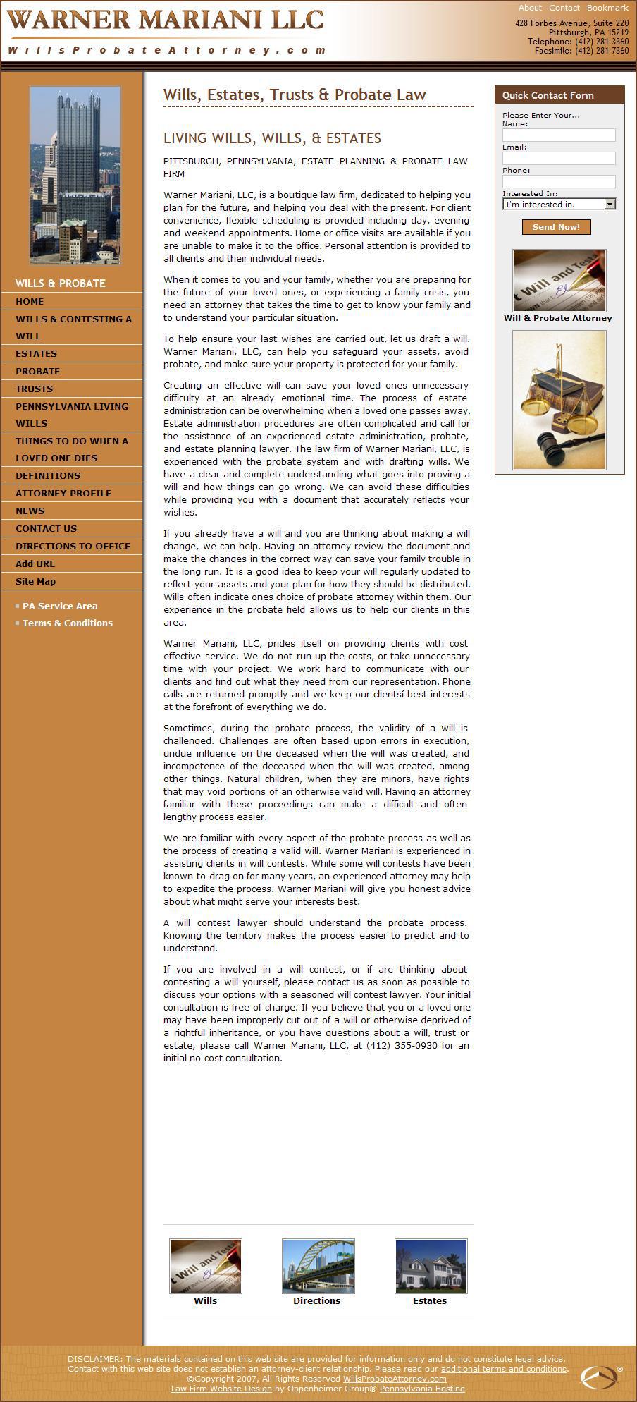 Wills Probate Attorneys - attorney website design