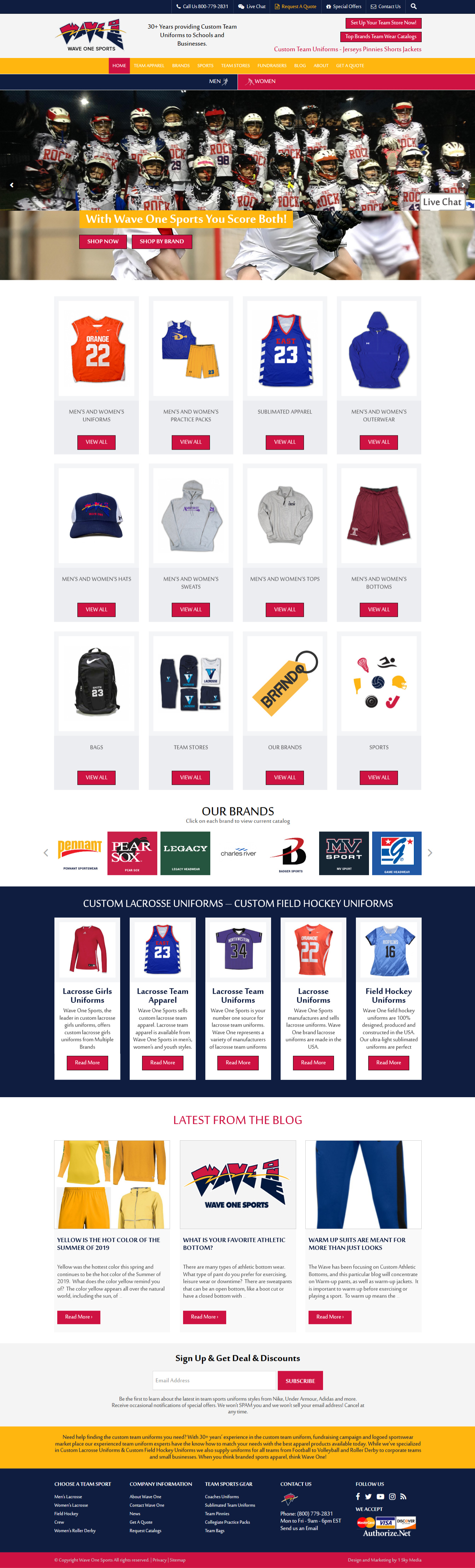 Wave One Sports custom sports team uniform website design