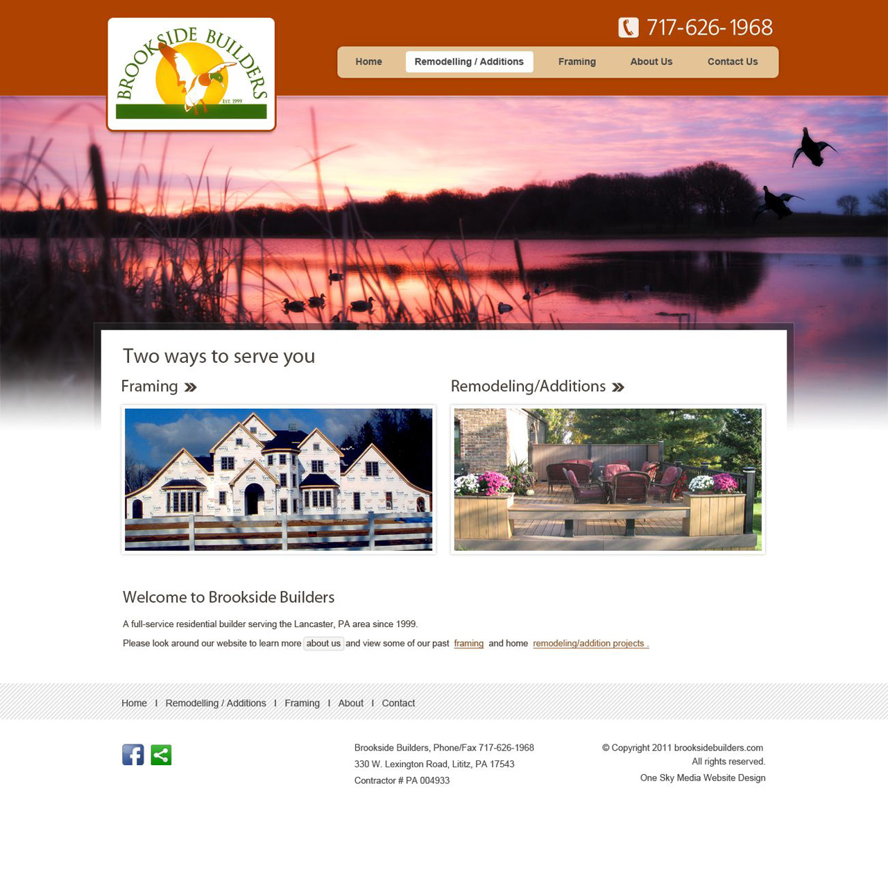 Brookside Home builders - home builders website design