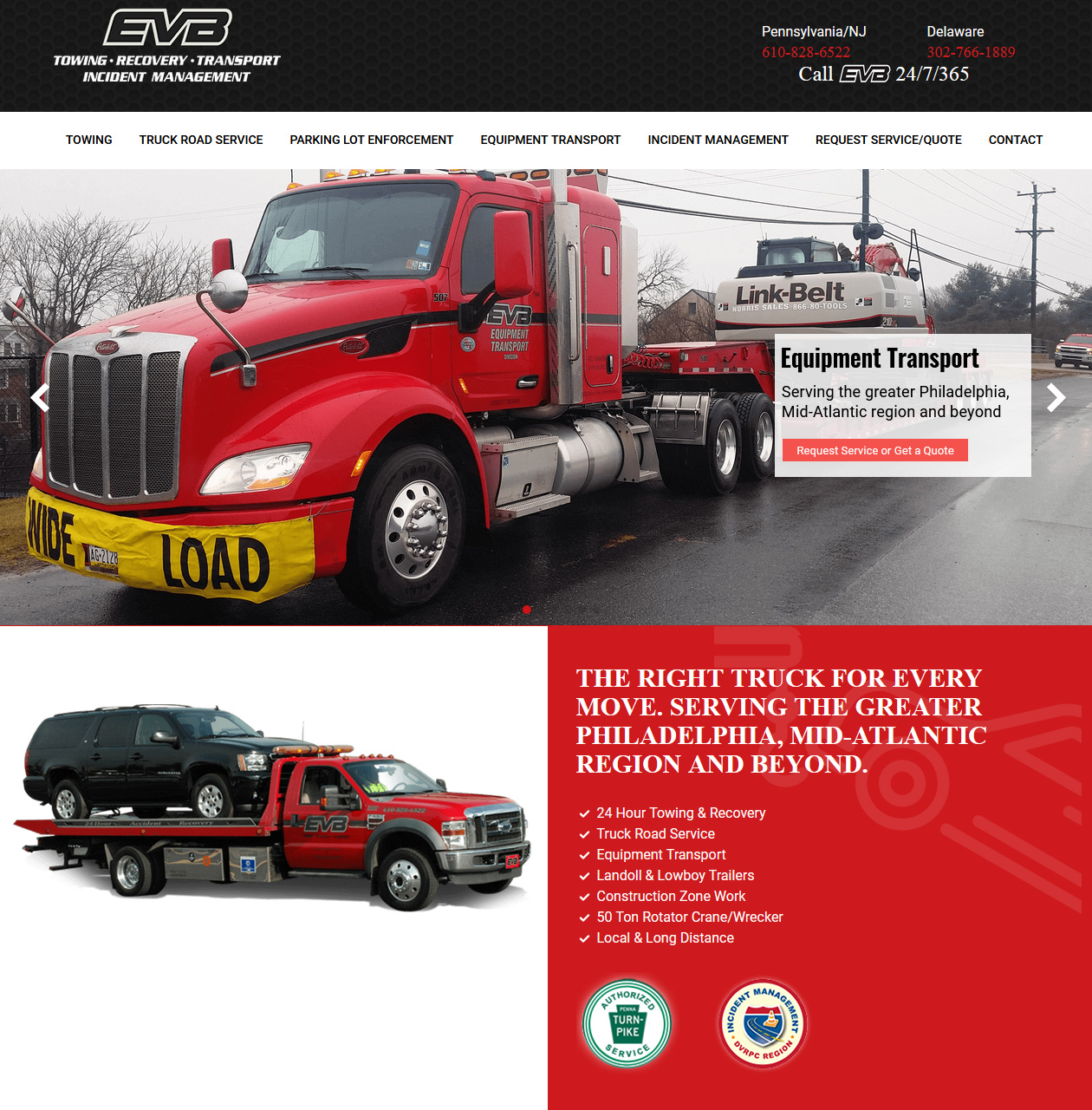 EVB Towing -towing company website design