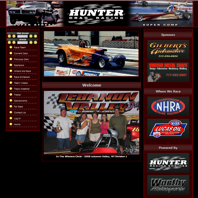 Hunter Drag Racing - racing promotional website design
