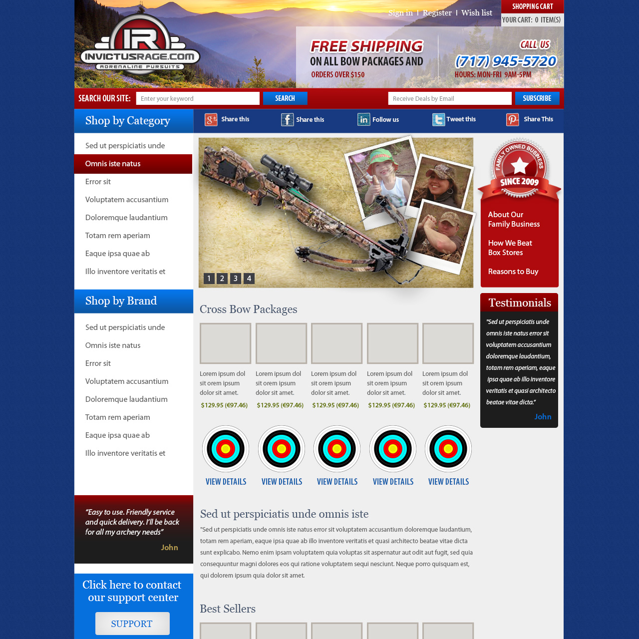 Invictus Rage Bow Hunting Supplies - hunting equipment website design
