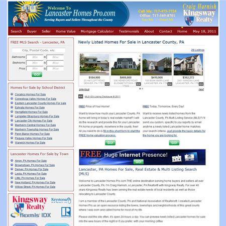 Lancaster Homes Pro - real estate website design