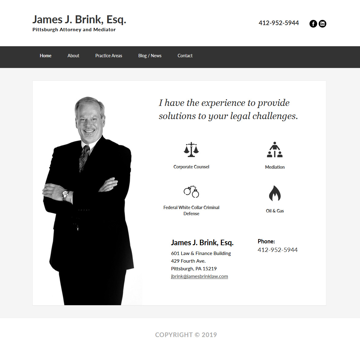 James J. Brink, Esq - lawyers website design