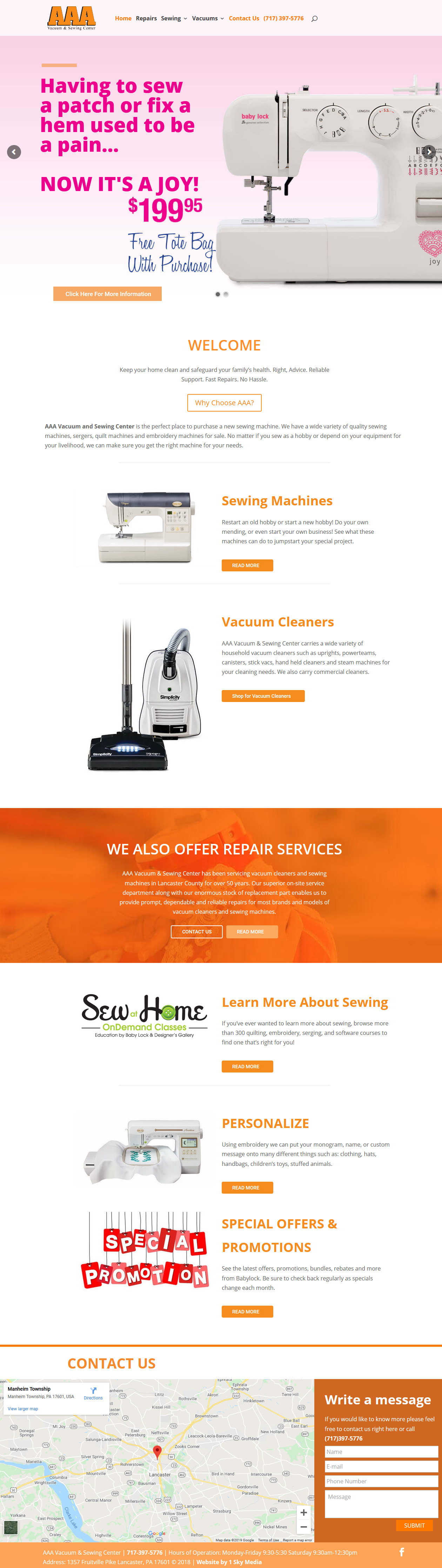 AAA Vacuum & Sewing Center website design