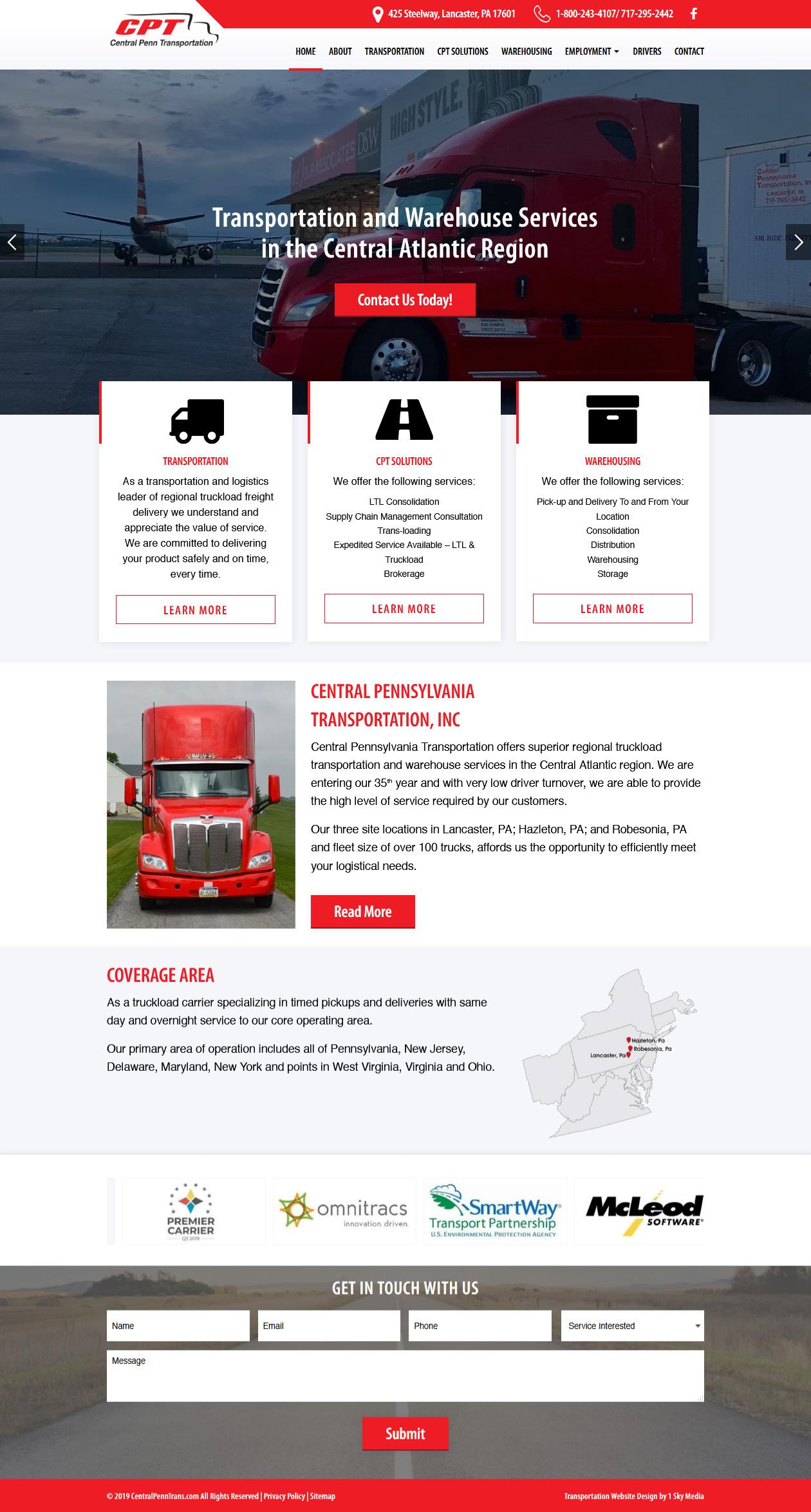 Central Pennsylvania Transportation - trucking website design