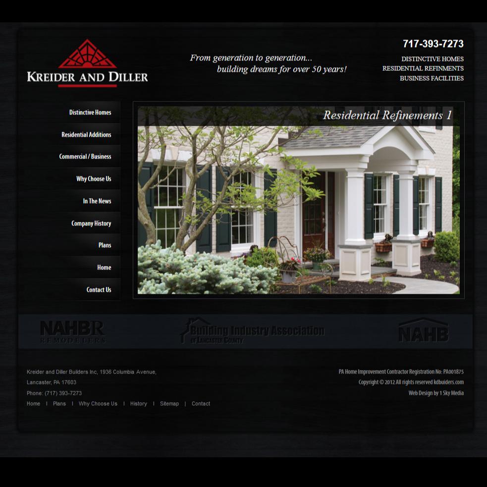 Kreider and Diller Builders - home builder website design