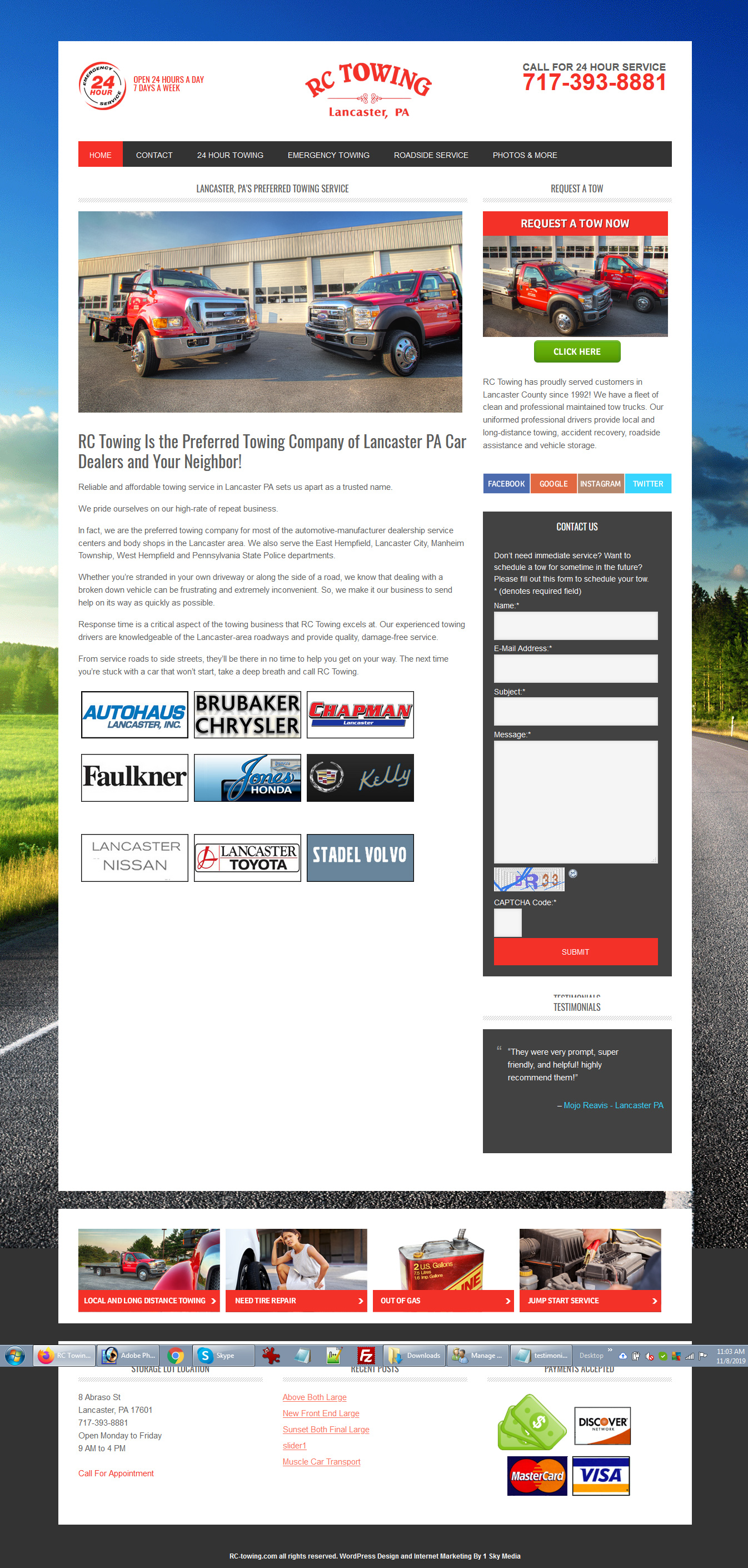 RC Towing - towing company website design