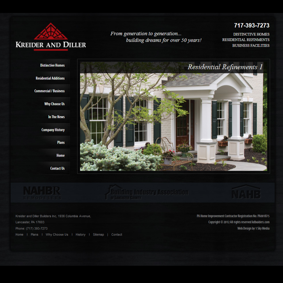 Kreider and Diller Builders - home builder website design