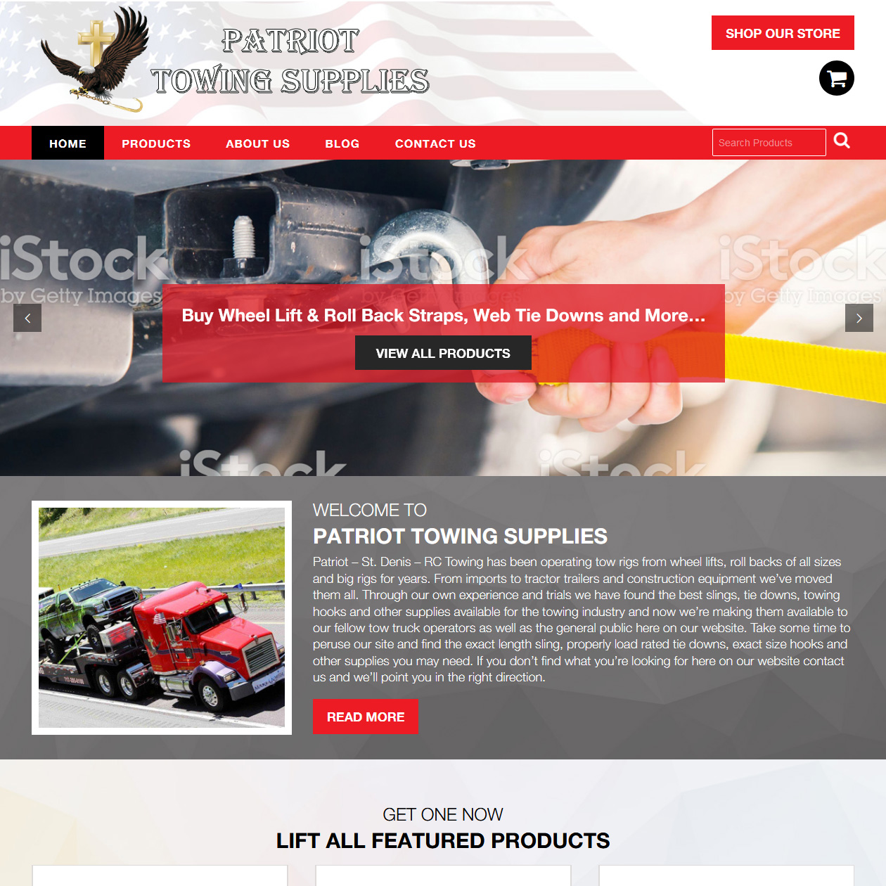 Patriot Towing Supplies - towing company website design