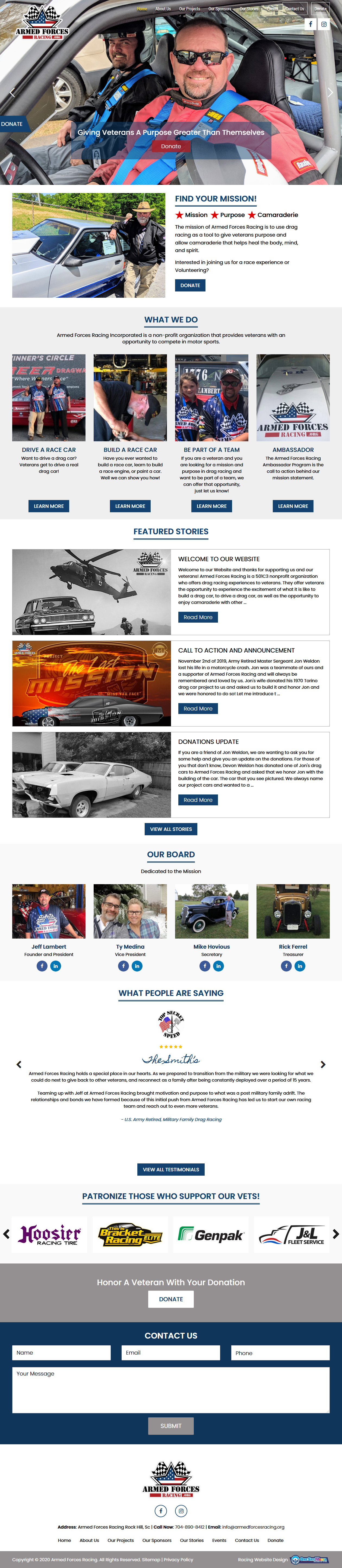 Armed Forces Racing - drag racing website design to support US Vets involvement in racing