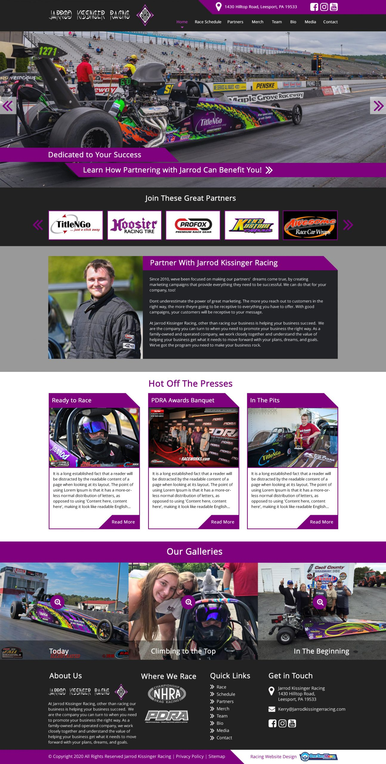 Drag Racing Website Design Website Design
