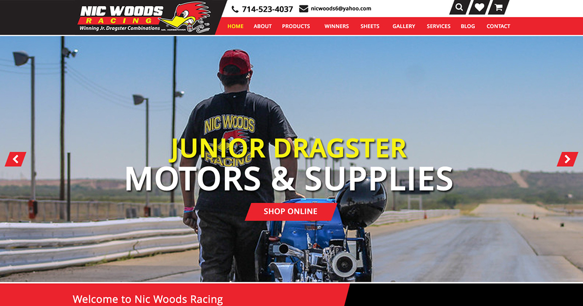Nic Woods Racing Website Mockup