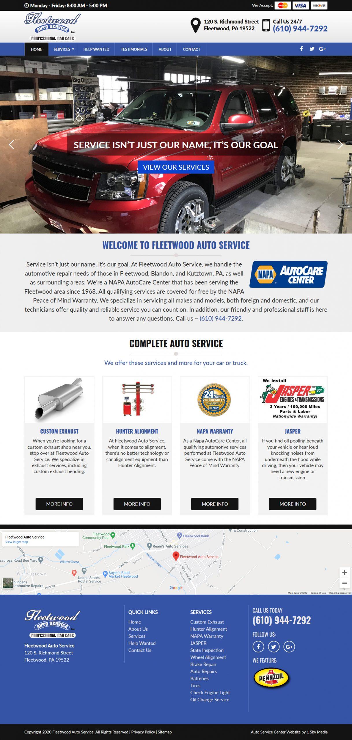 Fleetwood Auto Service Website Design