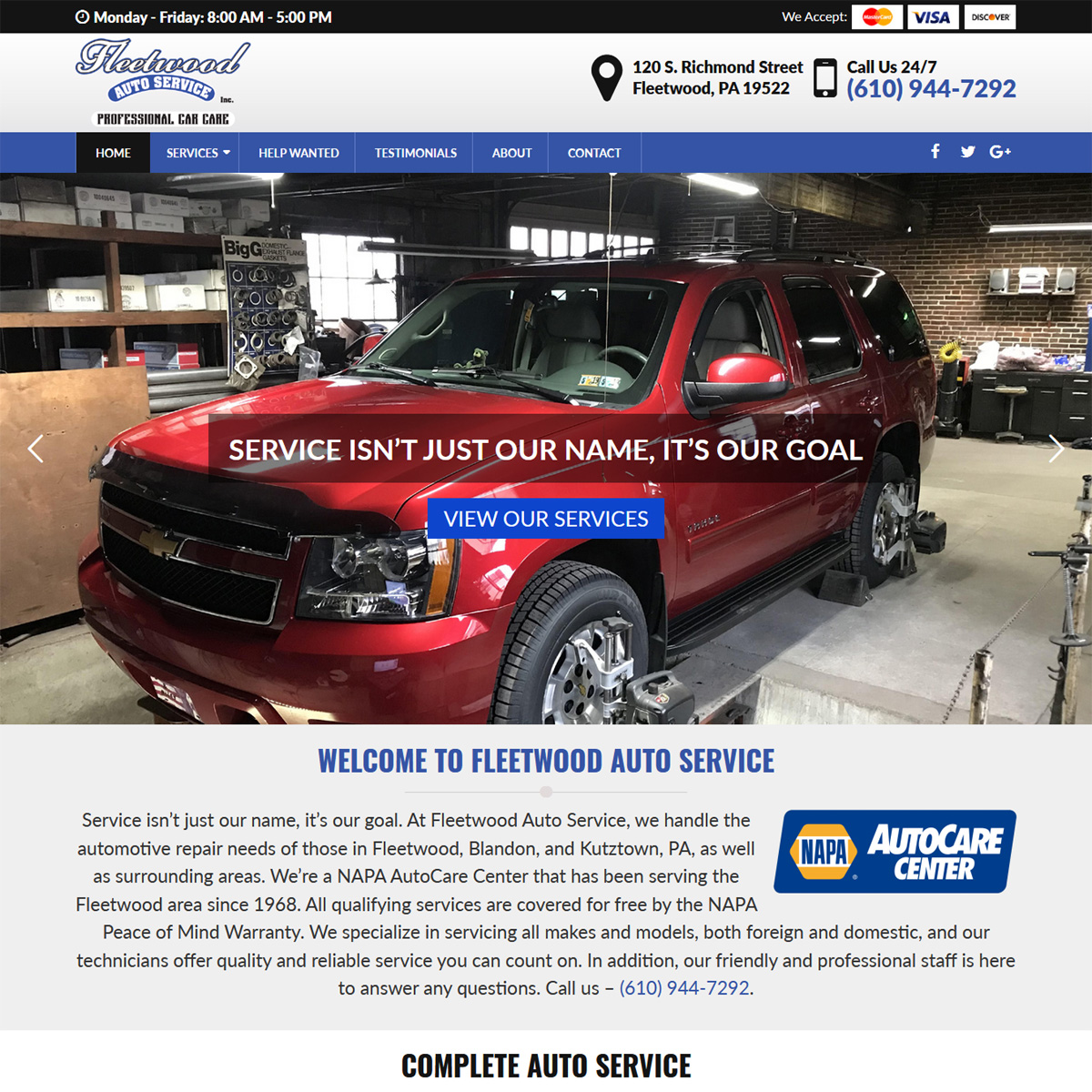 Fleetwood Auto Service Website Design